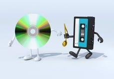 Retransmisión entre la vieja cinta de audio y el audio cd Fotografía de archivo