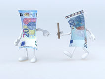 Retransmisión entre las viejas y nuevas 20 notas euro Imagen de archivo libre de regalías
