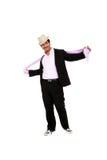 Retrato à moda do homem que desgasta um chapéu imagem de stock