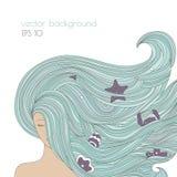 Retrato abstracto de la mujer con el pelo hermoso azul largo Muchacha del océano con y elementos del mar en el pelo Imagen de archivo libre de regalías