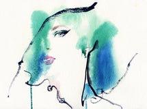 Retrato abstracto de la mujer Fondo de la manera ilustración del vector