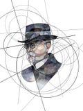 Retrato abstracto de Thomas G Masaryk, primer presidente de Checoslovaquia ilustración del vector