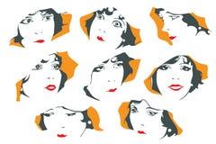 Retrato abstracto de una muchacha linda Diversas emociones Imágenes de archivo libres de regalías