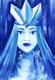 Retrato abstracto de una mujer joven hermosa en la corona del hielo y un abrigo de pieles nevoso Gamma azul fría Colorido a mano libre illustration