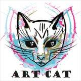 Retrato abstracto del gato de la tinta Imagen de archivo libre de regalías