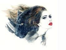 Retrato abstrato da mulher Fundo da forma Imagem de Stock Royalty Free