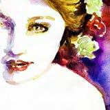 Retrato abstrato da mulher Fundo da forma Fotos de Stock Royalty Free