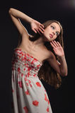 Retrato abstrato da mulher sonhadora. Fotos de Stock Royalty Free