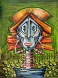 Retrato abstrato de uma mulher nativa ilustração stock