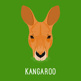 Retrato abstrato do canguru dos desenhos animados Natureza, tema do animal selvagem Imagens de Stock Royalty Free