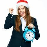 Retrato acertado de la mujer de negocios con el sombrero de Papá Noel Año Nuevo tim Fotos de archivo
