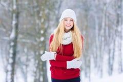 Retrato adolescente joven de la muchacha del invierno Belleza Girl modelo alegre que ríe y que se divierte en parque del invierno Foto de archivo