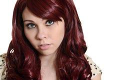Retrato adolescente principal rojo de la muchacha Imágenes de archivo libres de regalías