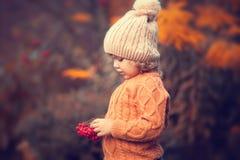 Retrato adorable de la niña pequeña en día hermoso del otoño Foto de archivo libre de regalías