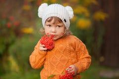 Retrato adorable de la niña pequeña en día hermoso del otoño Imagenes de archivo