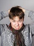 Retrato afectivo del adolescente en estudio Imagen de archivo libre de regalías