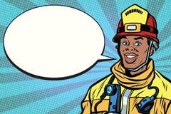 Retrato afroamericano del bombero, burbuja cómica stock de ilustración