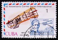 Retrato Agustin Parla, série de serviço de correio aéreo internacional, 50th aniversário, cerca de 1977 Imagens de Stock