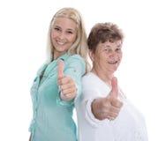 Retrato aislado de la abuela y de la nieta felices con th Fotografía de archivo libre de regalías
