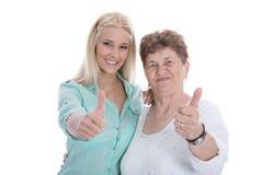 Retrato aislado de la abuela y de la nieta felices con th Fotos de archivo