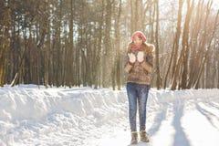 Retrato al aire libre de la muchacha de la Navidad Nieve que sopla de la mujer del invierno en un parque Fotografía de archivo