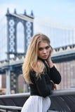Retrato al aire libre de la mujer sensual rubia joven que presenta en ropa elegante en el embarcadero Fotografía de archivo