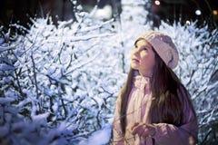Retrato al aire libre de la noche nevada de los arbustos de la muchacha Imagen de archivo