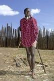 Retrato, alfombra roja integral, de Maasai adolescente Imágenes de archivo libres de regalías