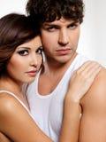 Retrato amantes bonitos de dois de uma sensualidade imagem de stock