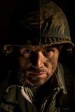 Retrato americano del SOLDADO ENROLLADO EN EL EJÉRCITO - PTSD imágenes de archivo libres de regalías