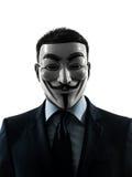 Retrato anónimo enmascarado hombre de la silueta del grupo fotos de archivo