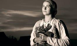 Retrato antigo matizado do close up da mulher do slavic do passado fotografia de stock royalty free