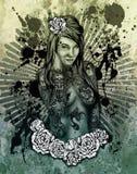 Retrato artístico da mulher Ilustração do Vetor