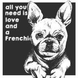 Retrato ascendente próximo do vetor do buldogue francês, no fundo do quadrado preto Tudo que você precisa é amor e um cão Imagens de Stock