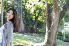 Retrato asiático de la mujer adulto femenino joven con maquillaje natural con referencia a Fotos de archivo libres de regalías