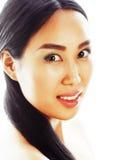 Retrato asiático do close up da face da beleza da mulher Modelo fêmea caucasiano asiático chinês atrativo bonito da raça misturad Imagens de Stock
