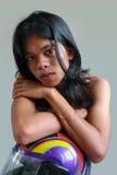 Retrato asiático con el casco Foto de archivo libre de regalías