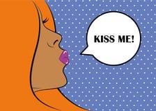 Retrato atractivo de la mujer Pin-para arriba con arte pop del beso del aire stock de ilustración