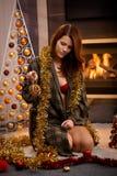 Retrato atractivo de la Navidad Foto de archivo