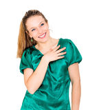 Retrato atrativo novo de sorriso da mulher Fotografia de Stock Royalty Free