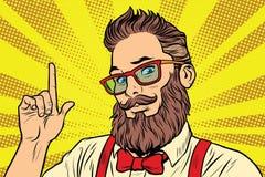 Retrato barbudo del hombre del inconformista que señala el finger Fotografía de archivo libre de regalías