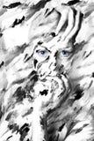 Retrato blanco y negro atractivo de la mujer en pinturas imagen de archivo