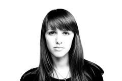 Retrato blanco y negro de la muchacha Foto de archivo libre de regalías