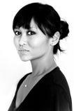 Retrato blanco y negro de la mujer asiática Foto de archivo libre de regalías