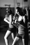 Retrato blanco y negro del boxeador de sexo femenino joven imagenes de archivo