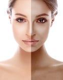 Retrato bonito bronzeado da meia cara da mulher Imagem de Stock