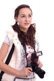 Retrato bonito da menina com a câmera moderna da foto Fotografia de Stock Royalty Free