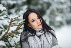 Retrato bonito da menina exterior em um inverno com neve Fotos de Stock