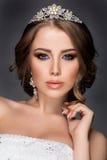 Retrato bonito da mulher com joia agradável Fotos de Stock Royalty Free