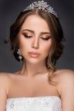 Retrato bonito da mulher com joia agradável Foto de Stock
